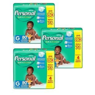 Fralda Descartável Personal Soft&Protect Hiper Grande 3 Embalagens c/ 80 Tiras