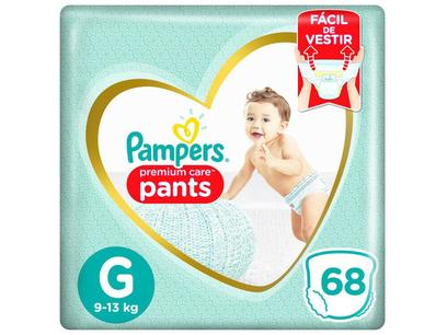 Fralda Pampers Premium Care Pants Calça Tam. G - 9 a 13kg 68 Unidades