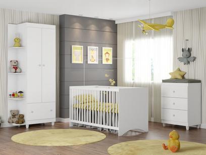 Guarda-Roupa de Bebê 2 Portas - com Cômoda e Berço Móveis Estrela