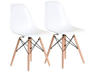 Jogo de Cadeiras Pé Palito Assento Branco Nell - EAM-BR1