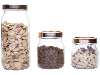 Jogo de Potes de Vidro Ruvolo Glass Company - com Tampa Redondo Gourmet Style 3 Peças