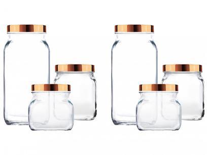 Jogo de Potes de Vidro Ruvolo Glass Company - com Tampa Redondo Gourmet Style 6 Peças