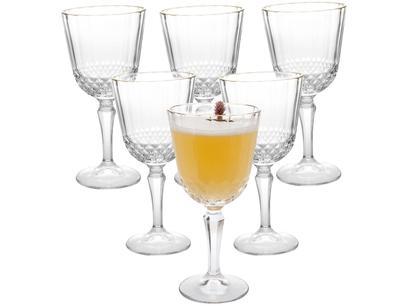 Jogo de Taças para Vinho de Vidro 350ml - 6 Peças Casambiente Classic Borda Dourada
