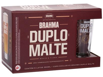 Kit Cerveja Brahma Duplo Malte Lager 6 Unidades - 350ml com Copo