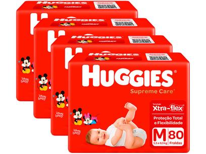 Kit Fraldas Huggies Supreme Care - Tam. M 5,5 a 9,5kg 4 Pacotes com 80 Unidades Cada