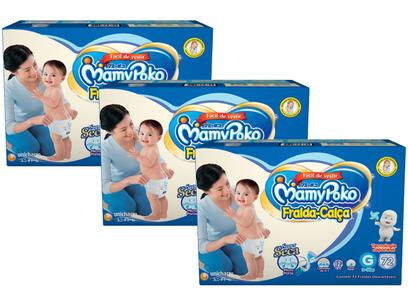 Kit Fraldas MamyPoko Calça Tam. G 9 a 14kg - 3 Pacotes com 72 Unidades Cada