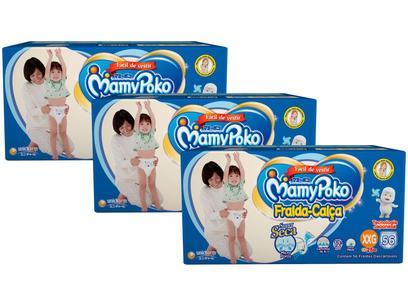 Kit Fraldas MamyPoko Calça Tam. XXG - 15 a 25kg 3 Pacotes com 56 Unidades Cada