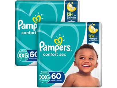 Kit Fraldas Pampers Confort Sec Tam. XXG +de 14kg - 2 Pacotes com 60 Unidades Cada