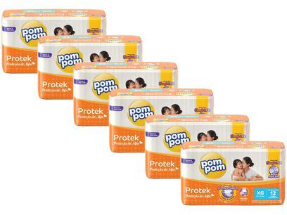 Kit Fraldas Pom Pom Protek Proteção de Mãe - Tam. XG 12 a 15kg 6 Pacotes com 12 Unidades Cada