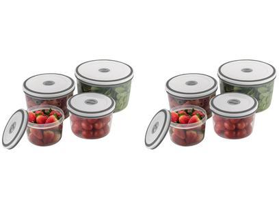 Kit Jogo de Potes de Plástico Hermético - Electrolux com Tampa Redondo A15405201 8 Peças