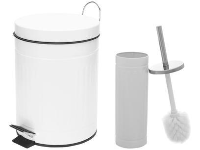 Kit Lixeira Reciclável com Pedal 5L Casambiente - LIXE002 + Escova Sanitária com Suporte New York