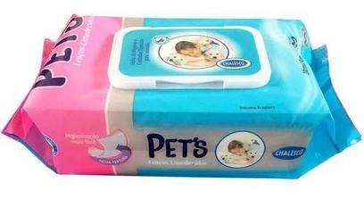 Lenços Umedecidos Para Cães Gatos C/ 80 Toalhas - Chalesco