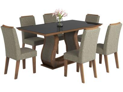 Conjunto de Mesa 6 Cadeiras Estofadas - Viero Móveis Valência