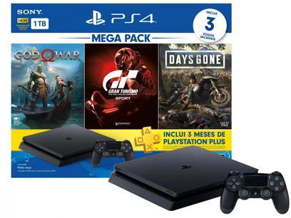 PlayStation 4 Bundle V12 1TB 1 Controle Sony - com 3 Jogos PS Plus 3 meses