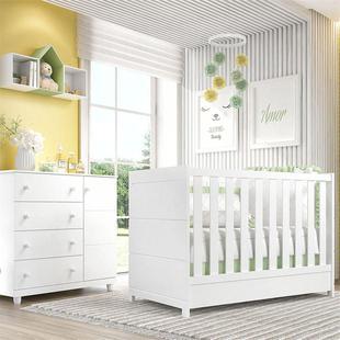 Quarto Bebê Premier Branco Berço e Cômoda 2Pçs Grão de Gente