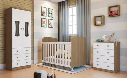 Quarto Completo Bebê Moveis Peroba Luna 100% MDF Branco Carvalho Branco Carvalho