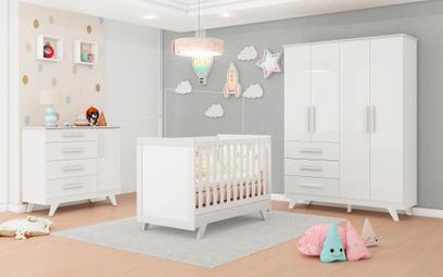 Quarto Completo Bebê Moveis Peroba Retro 100% MDF Branco portas lisas Branco