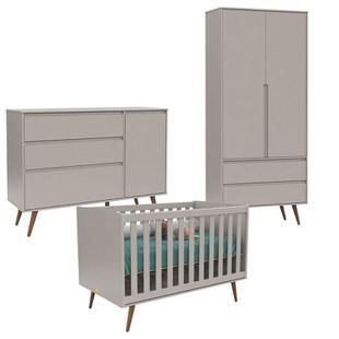 Quarto de Bebê 2 Portas Comoda com Porta e Berço Retro Clean Cinza Eco Wood - Matic - Matic moveis