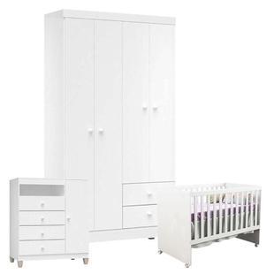 Quarto de Bebê 4 Portas Ternura Baby com Berço Gabi Branco Brilho - Incorplac