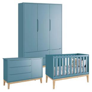 Quarto de Bebê Classic 3 Portas Azul com Pés Madeira Natural Reller