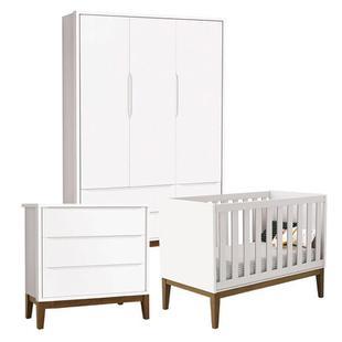 Quarto de Bebê Classic 3 Portas Cômoda Gaveteiro Branco com Pés Amadeirados - Reller