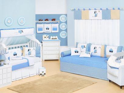 Quarto de Bebê Completo Carrinhos Azul 28 peças - Bebê enxovais