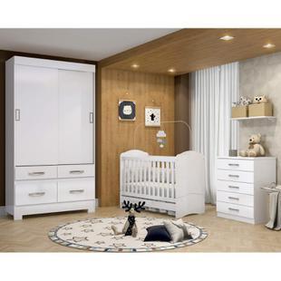 Quarto de Bebê Completo com Berço Flex, Guarda Roupa 2 Portas Flex e Cômoda Happy Siena Móveis Branco