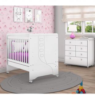 Quarto de Bebê Completo com Berço Mini Cama e Cômoda Benjamin Siena Móveis Branco