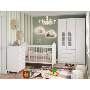 Quarto de Bebê Completo com Guarda Roupa 3 Portas, Cômoda e Berço Baby Confort Siena Móveis Branco