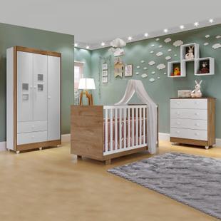Quarto de Bebê Completo com Guarda Roupa 3 Portas, Cômoda e Berço Mini Cama Life Siena Móveis Branco/Naturale