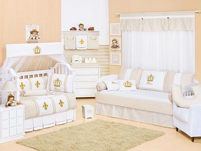 Quarto de Bebê Completo Coroa Bege 27 peças - Bebê enxovais