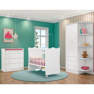 Quarto de Bebê Completo Doce Sonho 2 Portas e Berço Simples Branco - Qmovi