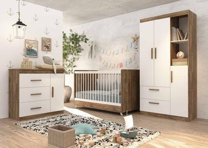 Quarto de Bebê Completo Floc 3 Portas Castanho com Branco Acetinado - MóveisAqui - Moveisaqui