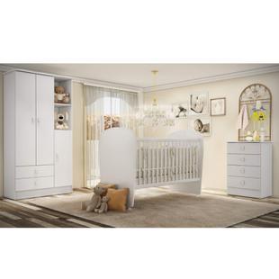 Quarto de Bebê Completo Pimpolho com Guarda Roupa 3 Portas, Cômoda e Berço Siena Móveis Branco