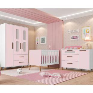 Quarto de Bebê Completo Retrô Bibi Plus - Branco/Rosa - Estrela Branco/Rosa