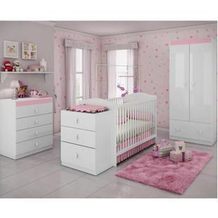 Quarto de Bebê Completo Sabrina 3 em 1 - Branco/Rosa - Casatema Branco/Rosa