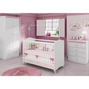 Quarto de Bebê Completo Sabrina Plus 3 em 1 - Branco/Rosa - Casatema Branco/Rosa