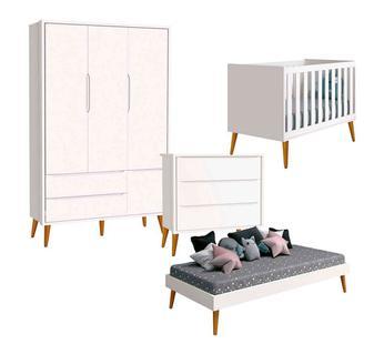 Quarto de Bebê Completo Theo Guarda Roupa 3 Portas Branco Acetinado - Reller