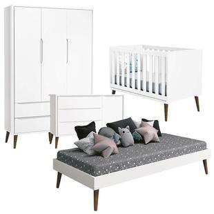 Quarto de Bebê Completo Theo Guarda Roupa 3 Portas e Cômoda com Porta Branco Acetinado - Reller