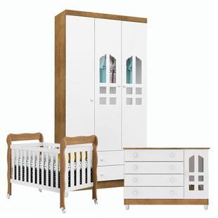 Quarto de bebê Gran Selena 3 Portas com Berço Lila Branco Acetinado Amadeirado - Carolina - Carolina Baby