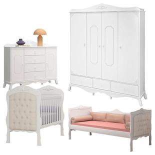 Quarto de Bebê Realeza 4 Portas e Cama Infantil com Capitonê Branco Acetinado Canaã - Canaa Baby