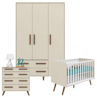 Quarto de Bebê Retrô Off White - Qmovi