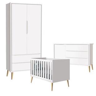 Quarto de Bebê Theo 2 Portas Branco Acetinado Pés Madeira Natural - Reller