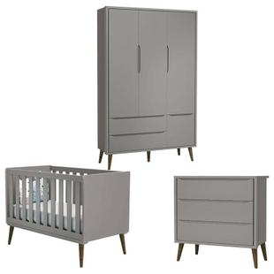 Quarto de Bebê Theo 3 Portas Cinza com Pés Amadeirado - Reller