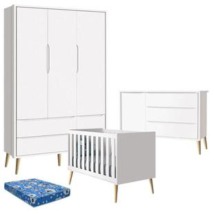 Quarto de Bebê Theo 3 Portas com Colchão e Cômoda Branco Acetinado Pés Madeira Natural - Reller