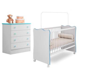 Quarto Infantil Berço e Cômoda Certificado Inmetro Azul - Qmovi