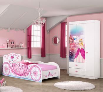 Quarto Infantil Carruagem com Cama e Guarda Roupa Branco/Rosa - Móveis Estrela