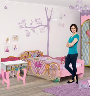 Quarto Infantil com Cama Princesas Disney Star e Penteadeira Princesas Premium Pura Magia