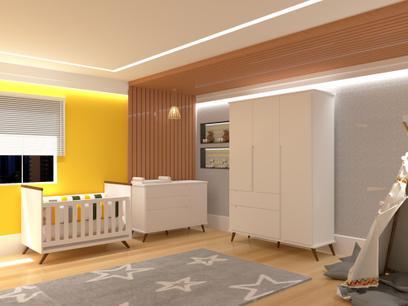 Quarto Infantil Completo Retrô Sofia Branco Acetinado - Mobili
