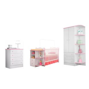 Quarto Infantil Doce Sonho Berço Cômoda Branco/Rosa - Qmovi